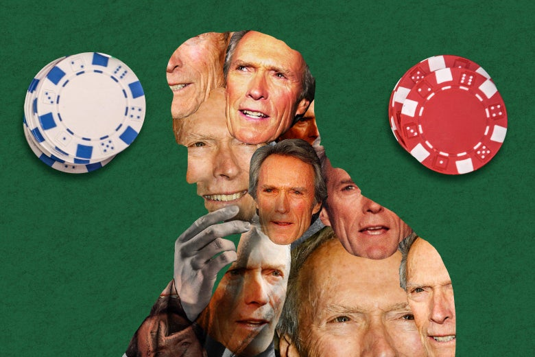 Photos of Clint Eastwood inside a silhouette of a thinking man with poker chips surrounding the image on a poker table.