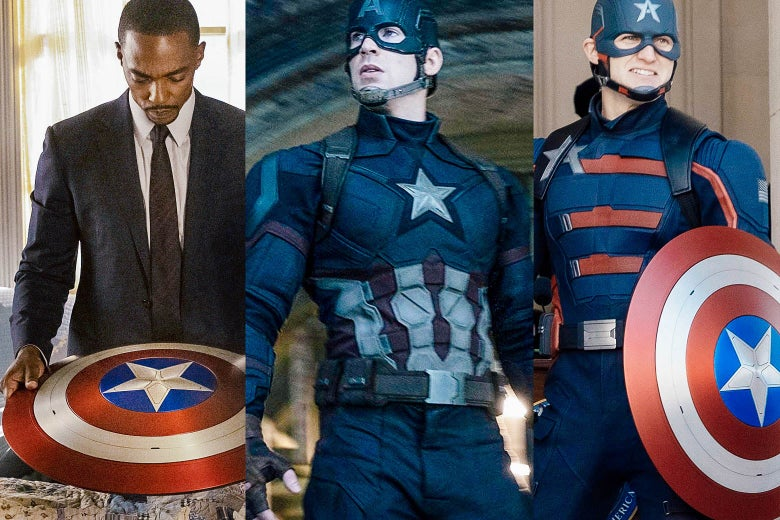 Anthony Mackie holds Captain America's shield.