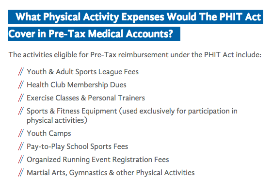 List of activities eligible for PHIT reimbursement.