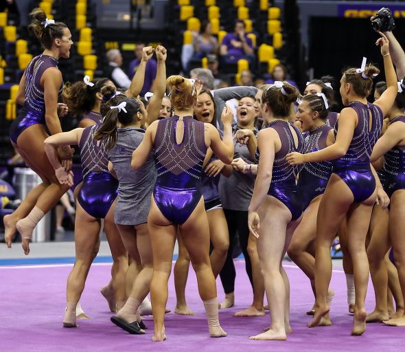 The LSU Tigers get pumped up for their meet against the Oklahoma Sooners at the Pete Maravich Assembly Center in Baton Rouge, Louisiana, on Jan. 9, 2016.