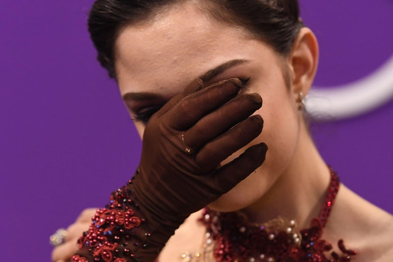 Russia's Evgenia Medvedeva reacts after the women's single skating free skating of the figure skating event during the Pyeongchang 2018 Winter Olympic Games at the Gangneung Ice Arena in Gangneung on February 23, 2018. / AFP PHOTO / Roberto SCHMIDT        (Photo credit should read ROBERTO SCHMIDT/AFP/Getty Images)