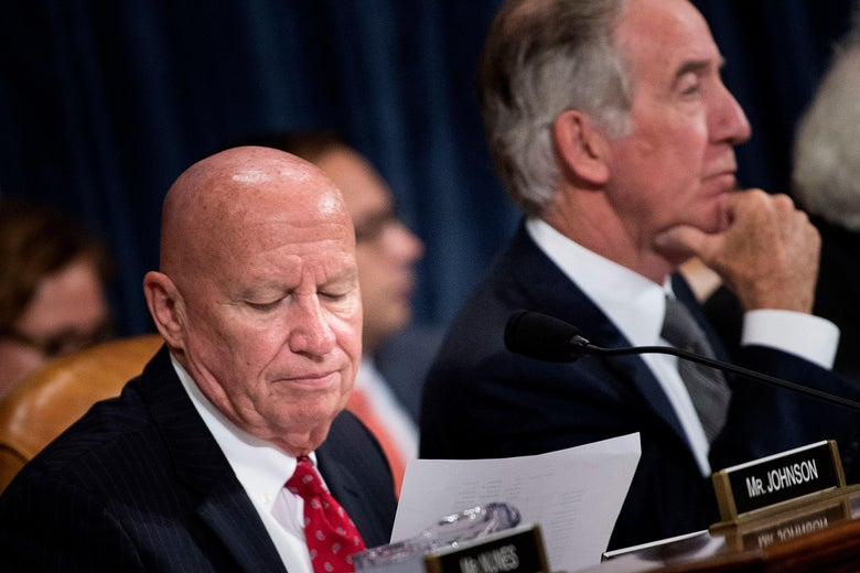 Committee chairman Rep. Kevin Brady and ranking member Rep. Richard Neal listen during a markup of the Tax Cuts and Jobs Act  before the House Ways and Means Committee on Nov. 6, 2017 in Washington, D.C. / AFP PHOTO / Brendan Smialowski        (Photo credit should read BRENDAN SMIALOWSKI/AFP/Getty Images)