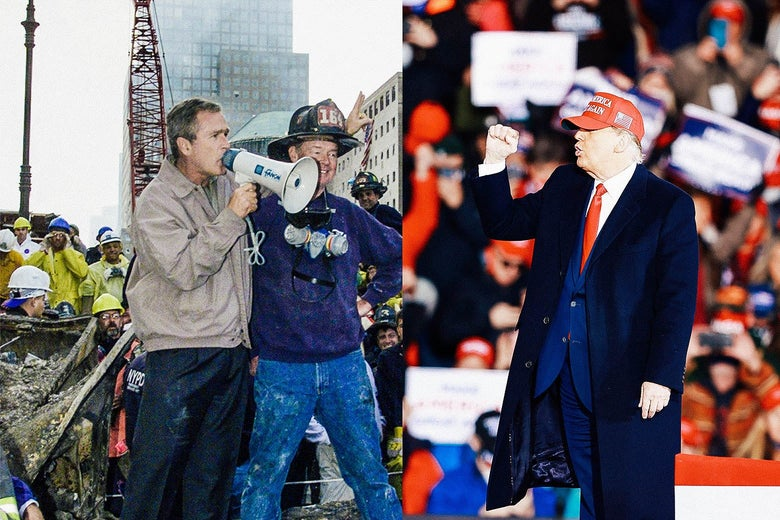 Left: Bush speaking through a megaphone, surrounded by WTC wreckage and emergency responders. Right: Trump pumping his fist, with a crowd in the background.