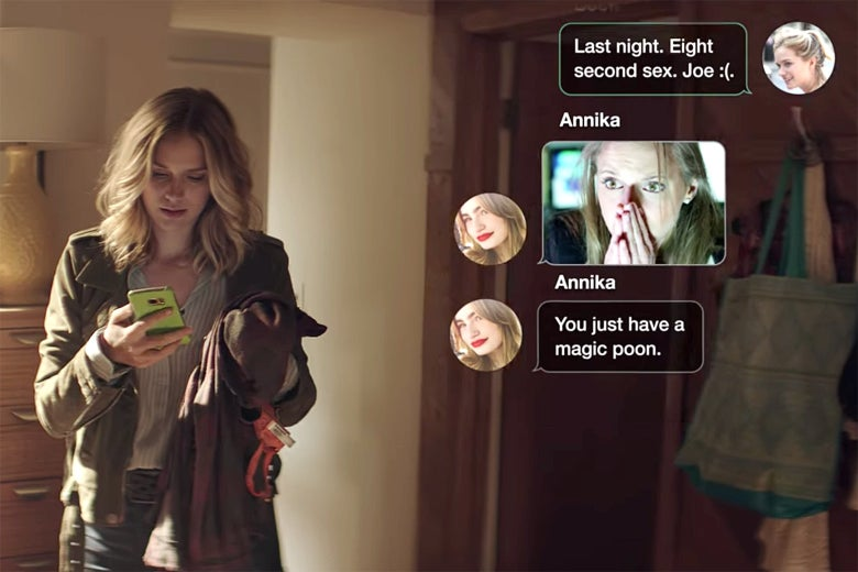 A still from You where a GIF of a woman looking shocked is used in a text message.