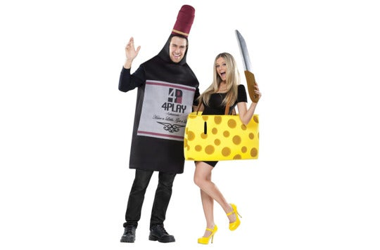 Couple dressed as wine and cheese.