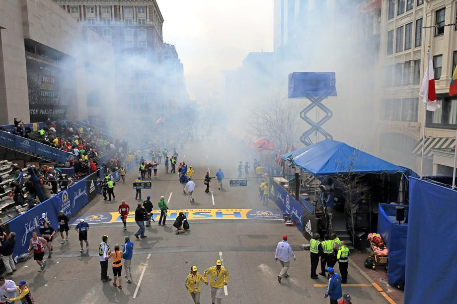 Two explosions went off near the finish line of the 117th Boston Marathon on April 15, 2013.