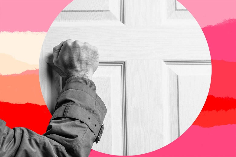 An elderly hand knocks on a door.