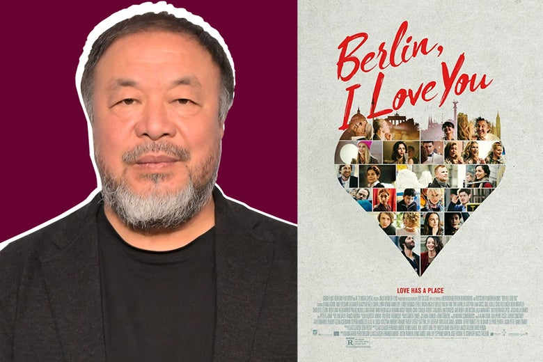 Side-by-side photos of Ai Weiwei and the poster for Berlin, I Love You.