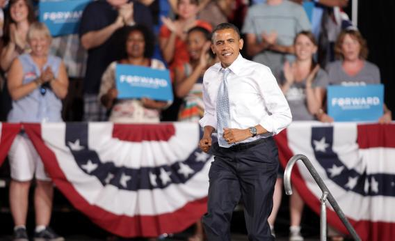 President Obama arriving at a campaign rally at Desert Pines High School last week in Las Vegas