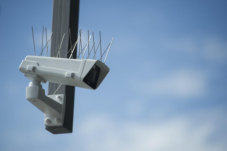 BERLIN, GERMANY - AUGUST 03: A surveillance camera which is part of facial recognition technology test is seen at Berlin Suedkreuz station on August 3, 2017 in Berlin, Germany. The technology is claimed could track terror suspects and help prevent future attacks. (Photo by Steffi Loos/Getty Images)
