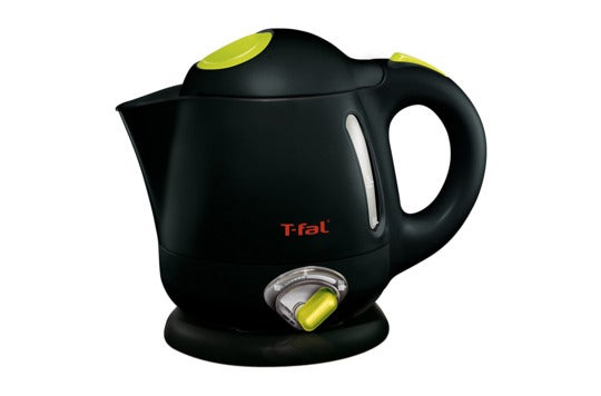 Black T-fal electric kettle.