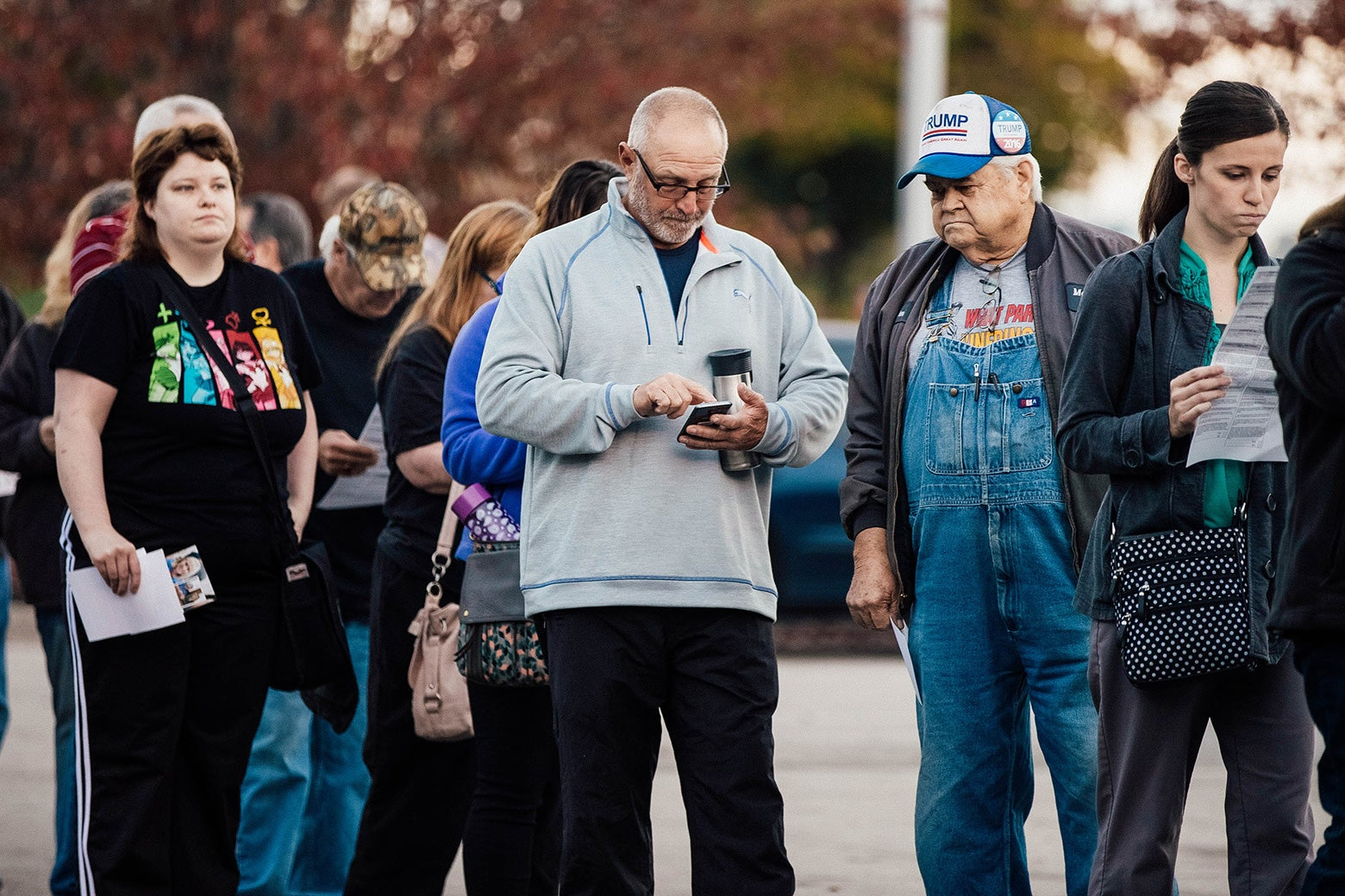 Voters wait in line to cast their ballots on Nov. 8, 2016, in Independence, Missouri.