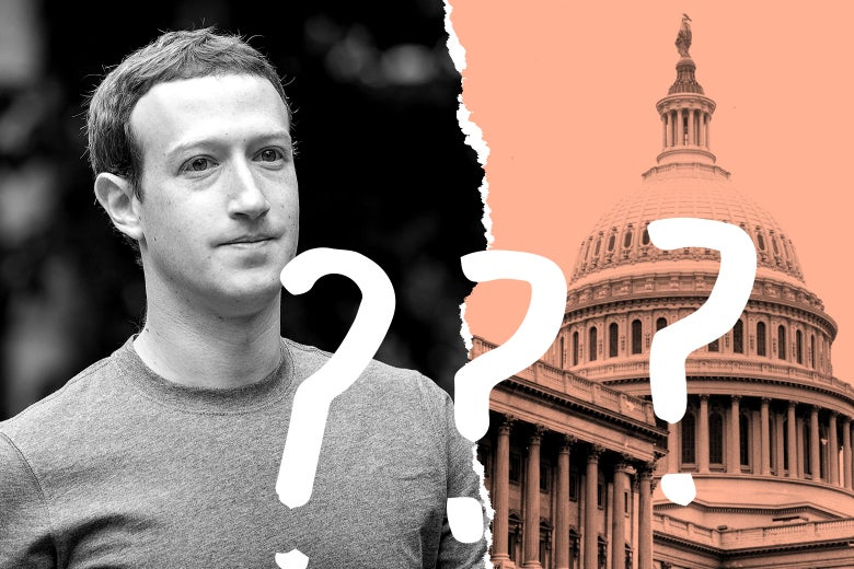 A photo illustration depicting Mark Zuckerberg and the U.S. Capitol with question marks.
