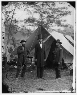 President Lincoln, and Maj. Gen. John A. McClernand, October 1862, at the main eastern theater of the war, Battle of Antietam.