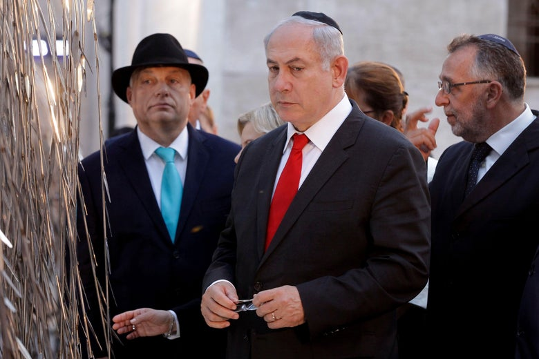 Netanyahu, Orbán, and others paying their respects.