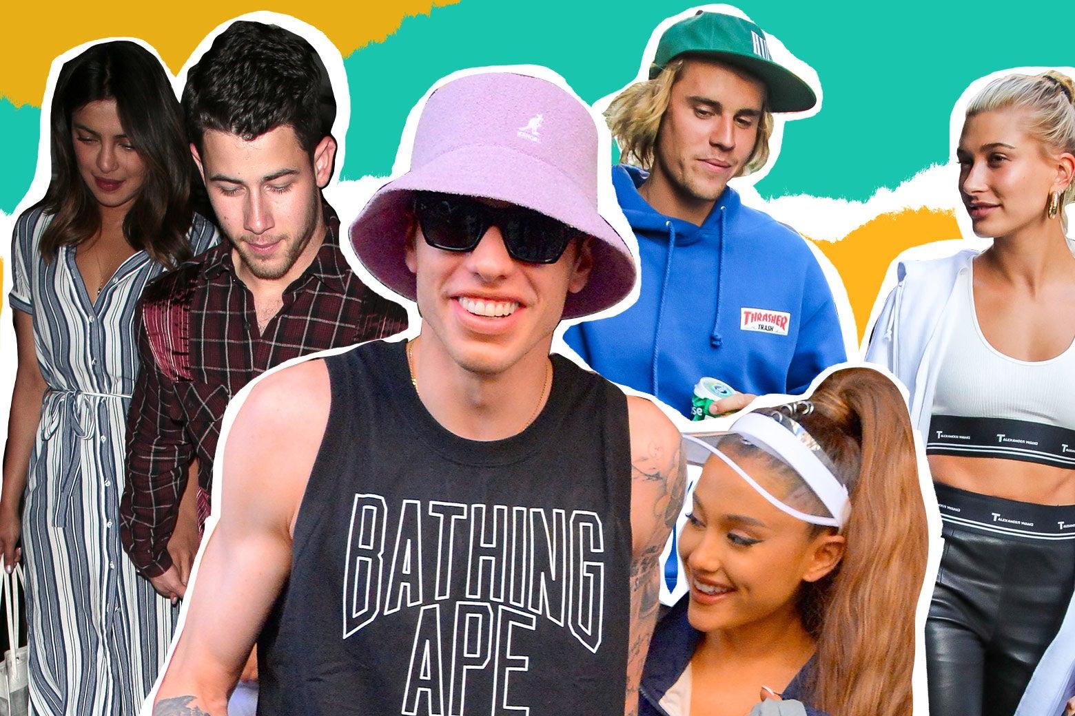 Nick Jonas and Priyanka Chopra, Pete Davidson and Ariana Grande, and Justin Bieber and Hailey Baldwin.
