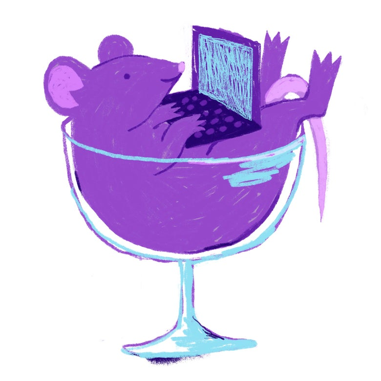 A purple rat types on a laptop in a wine glass.
