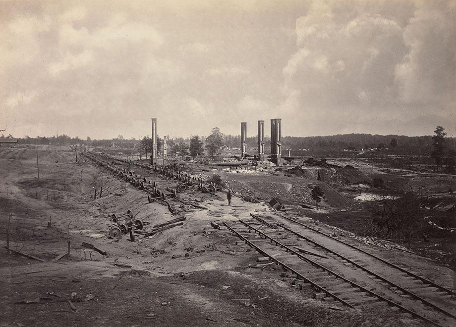 Destruction of Hood's Ordnance Train,1864. Albumen silver print