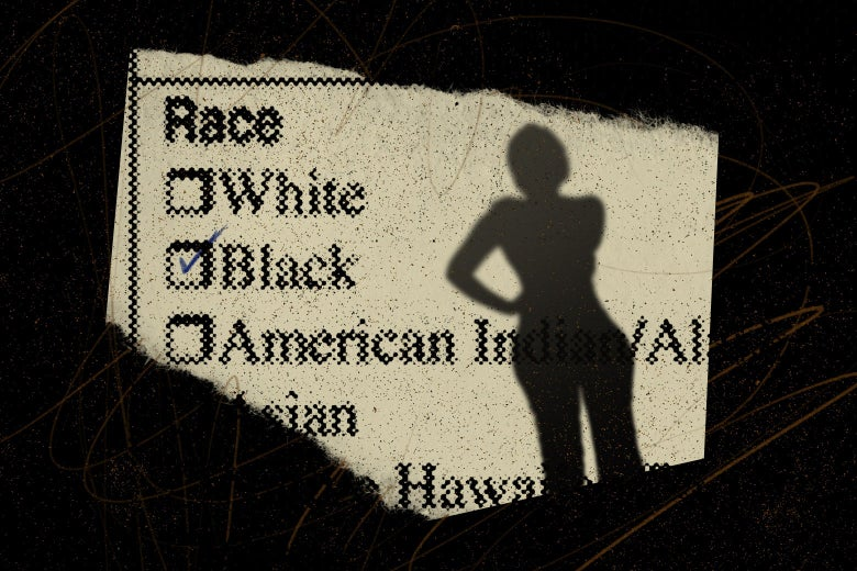 A silhouette of a woman on top of a form asking for the respondent's race.