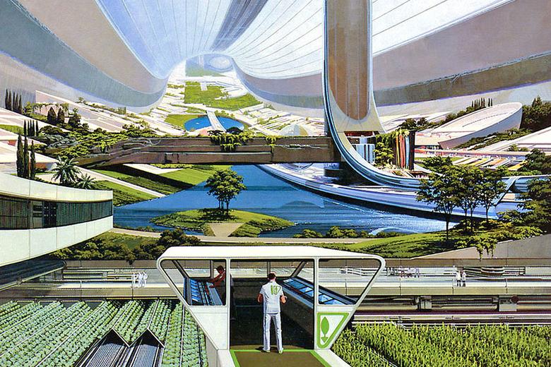 A futuristic megacity farmscape.