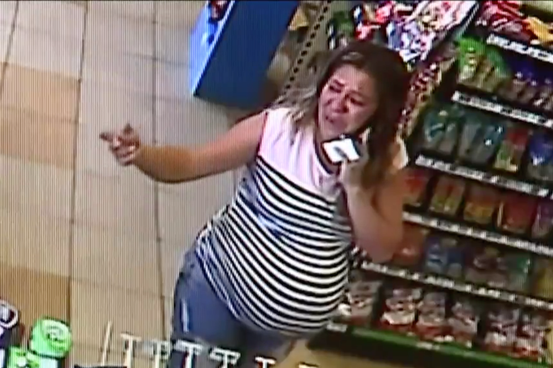 Security video shows María del Carmen Venegas visibly upset inside the convenience store after her husband, Joel Arrona, was detained on August 15, 2018 in San Bernardino, California.
