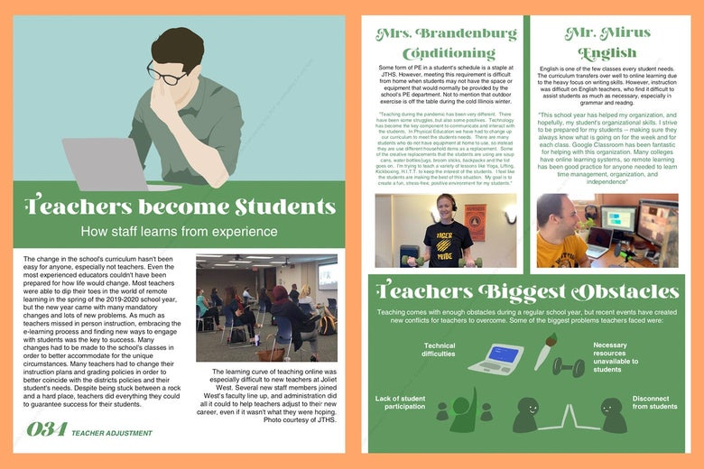 A spread about teachers switching to Zoom.