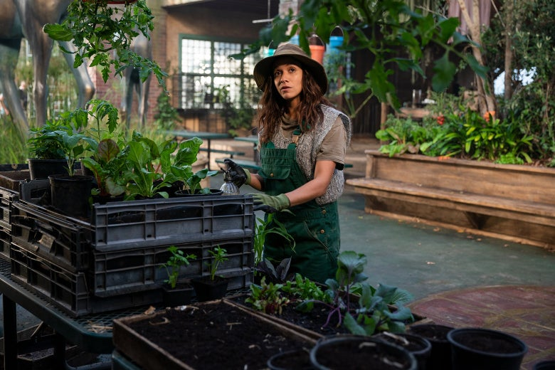 Actress Dania Ramirez, wearing a floppy hat and gardening apron, tends to some seedlings in a still from Sweet Tooth.