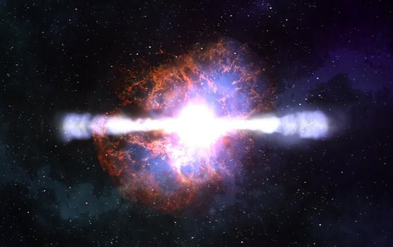 Artist drawing of a gamma-ray burst, a cosmic explosion announcing the birth of a black hole.