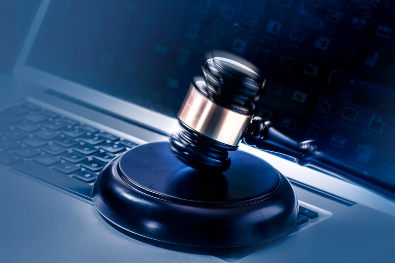 A gavel on a computer. South Africa and Egypt are both considering new internet censorship laws.