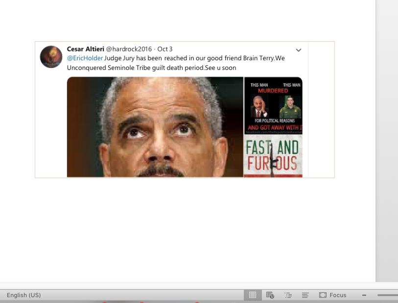 A tweet threatening Eric Holder