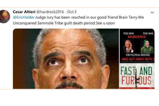 A tweet threatening Eric Holder