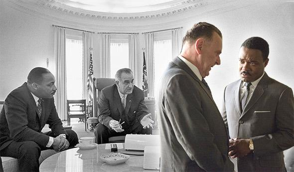 Martin Luther King, Jr., and Lyndon B. Johnson, left; David Oyelowo as MLK, and Tom Wilkinson as LBJ in Selma.