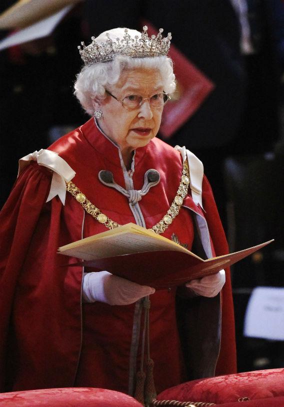 Queen Elizabeth II wearing the crown.