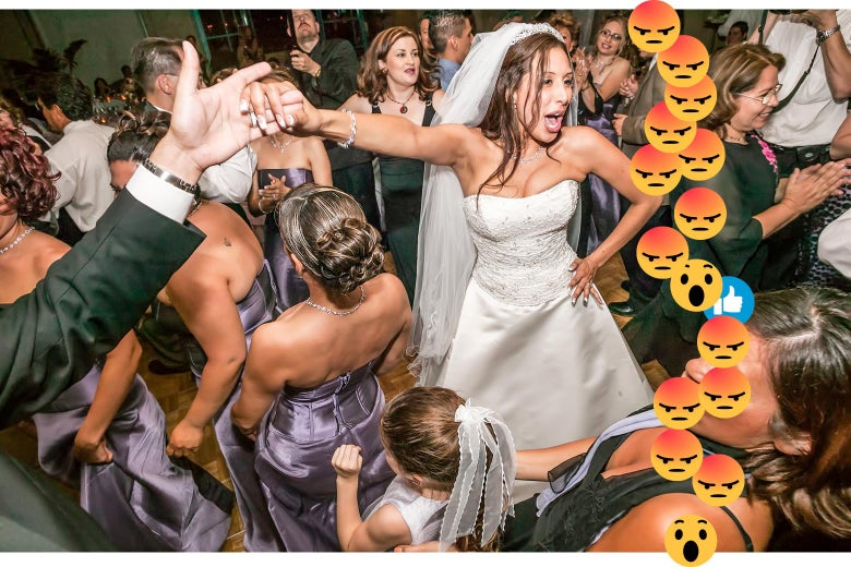 A photo of a very crowded dance floor at a wedding with rage emojis cascading up the side.
