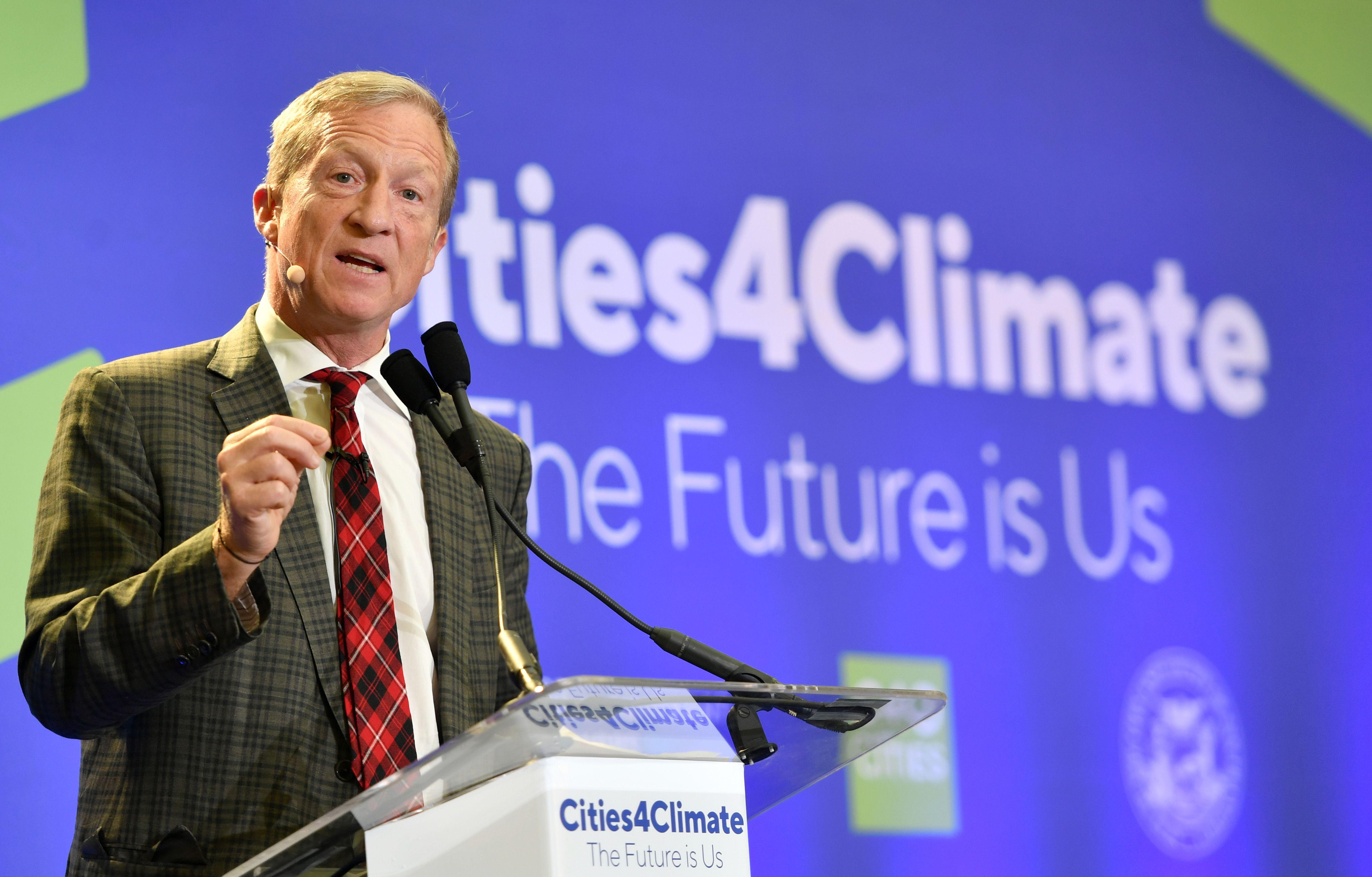 Tom Steyer, Founder & President of NextGen America, speaks during the C40 Cities For Climate The Future Is Us kickoff event in San Francisco, California on September 12, 2018.