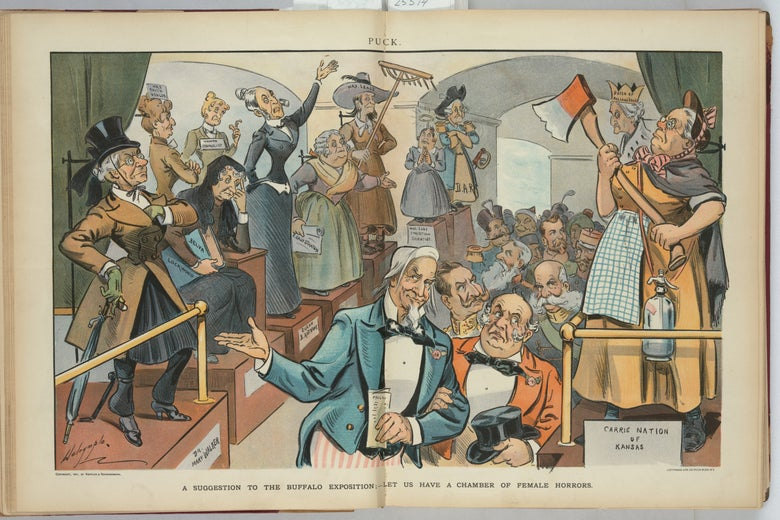 Cartoon depicting female suffragists and activists as exhibits at the Buffalo Exposition of 1901