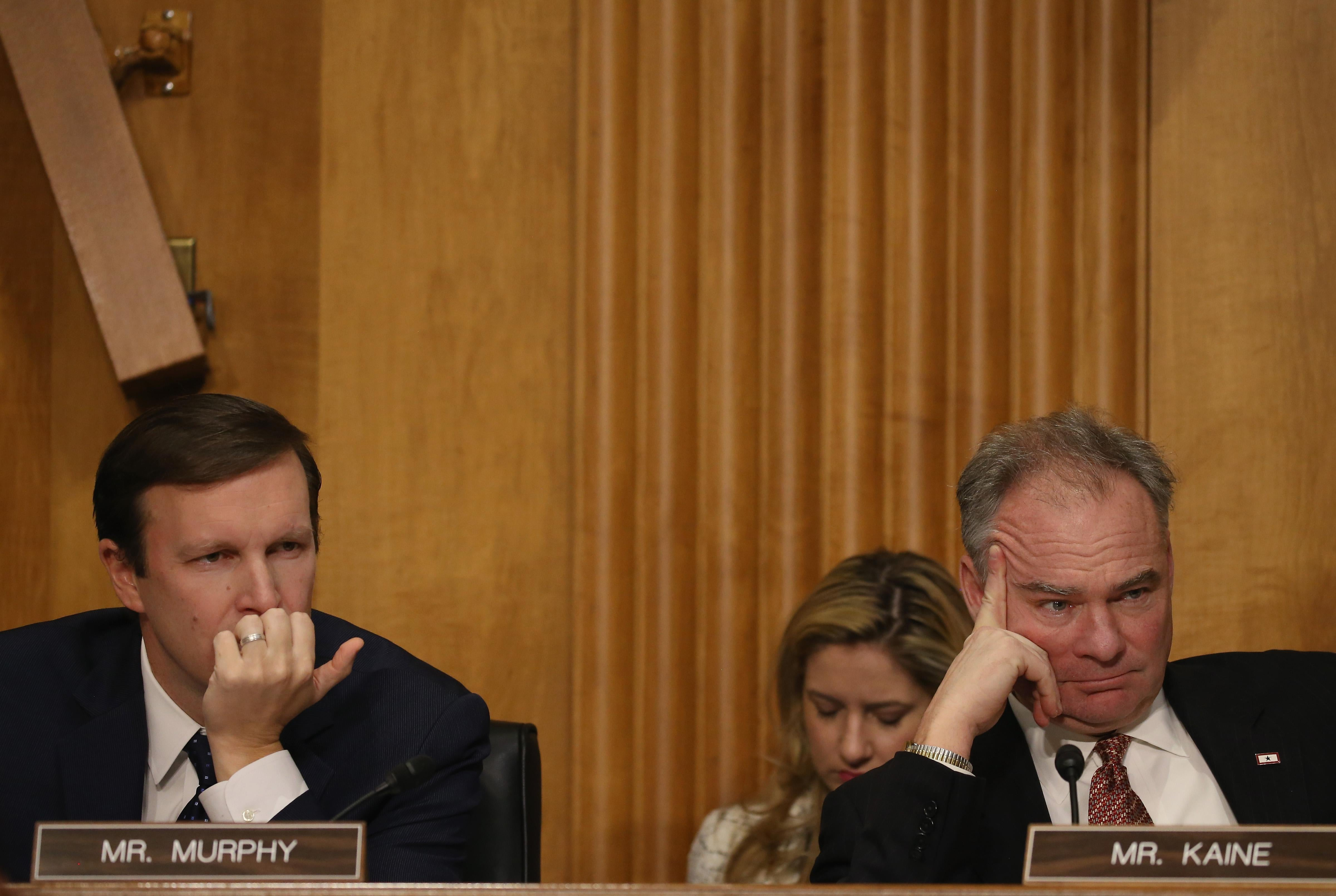 Sen. Christopher Murphy and Sen. Tim Kaine participate in a Senate Foreign relations Committee hearing on Capitol Hill, March 10, 2015 in Washington, DC.