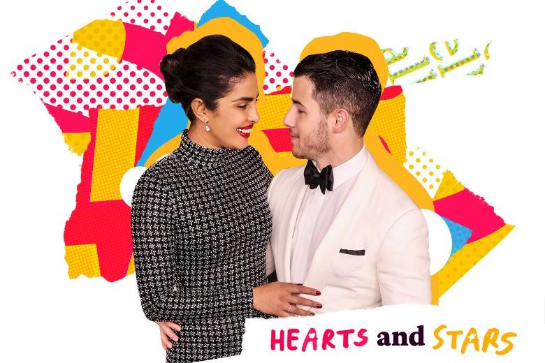 Priyanka Chopra and Nick Jonas staring lovingly at each other.