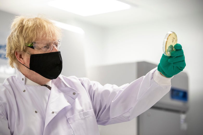 Boris Johnson holds up a petri dish and looks at it.