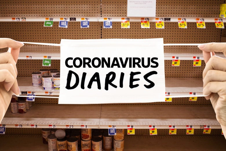 Near empty shelves for canned goods are seen in a supermarket in Washington, DC on March 20, 2020 with a photo illustrated coronavirus mask over the image of the shelves.