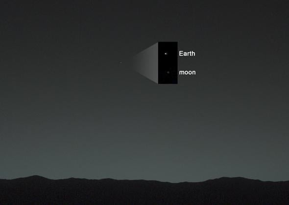 zoom of Earth and Moon from Mars