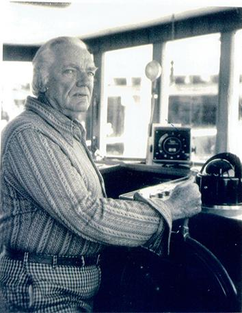 Scott O'Dell at the helm, 1972.