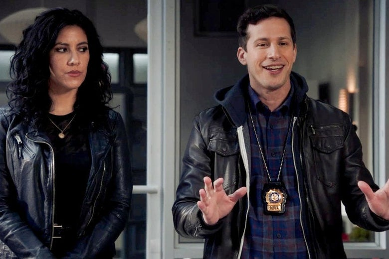 Stephanie Beatriz and Andy Samberg on Brooklyn Nine-Nine.