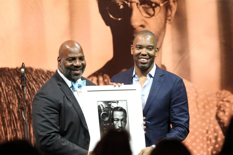 Journalist, presenter Jelani Cobb presents Honoree, Author Ta-Nehisi Coates on stage at Gordon Parks Foundation: 2018 Awards Dinner & Auction at Cipriani 42nd Street on May 22, 2018 in New York City.  (Photo by Bennett Raglin/Getty Images for Gordon Parks Foundation)
