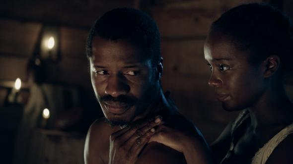 Nate Parker and Aja Naomi King in The Birth of a Nation.