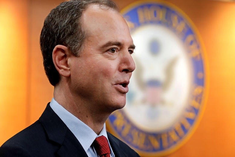 House Intelligence Committee ranking member Rep. Adam Schiff (D-CA) speaks with reporters on July 17, 2018.
