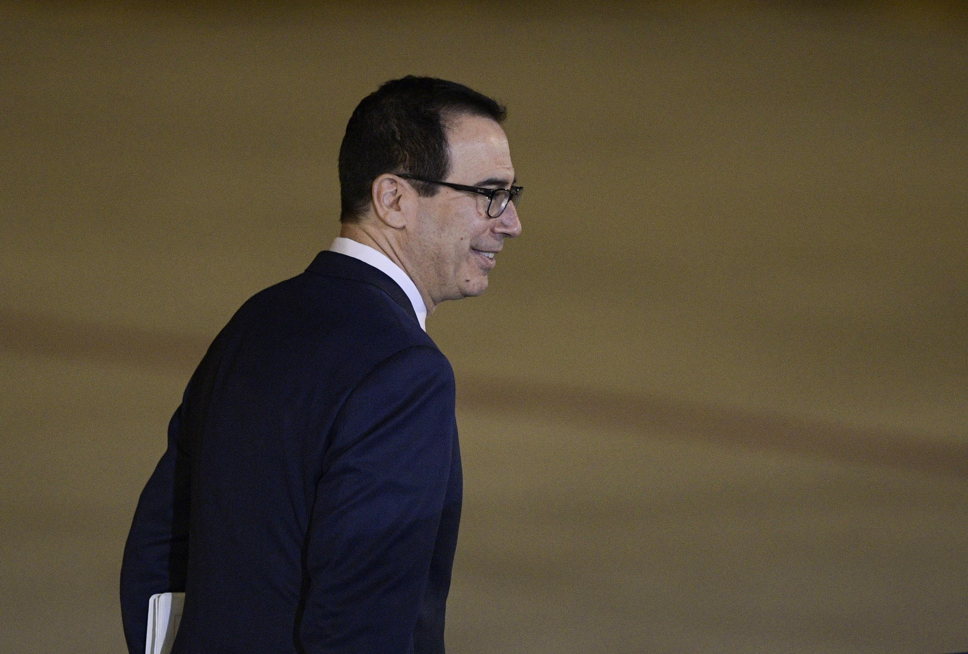 Secretary of the Treasury Steven Mnuchin is pictured shortly after his arrival at Ezeiza International airport in Buenos Aires province, on November 29, 2018, on the eve of the G20 Leaders' Summit.