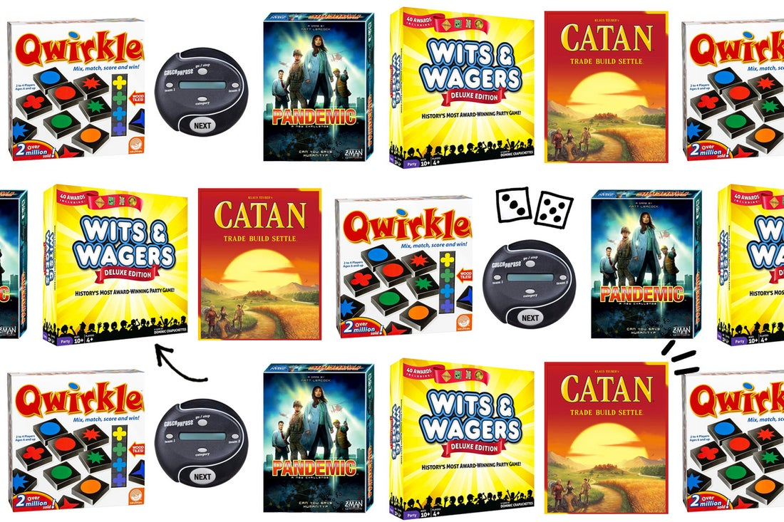 A collage of board game boxes featuring Wits & Wagers, Pandemic, Catch Phrase, and more.
