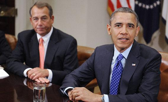 Fiscal cliff friends John Boehner and President Barack Obama