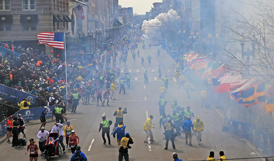 A second explosion goes off near the finish line of the 117th Boston Marathon.